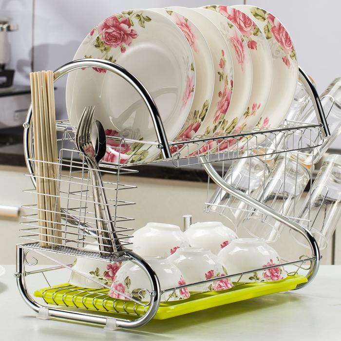 1119厨房置物架不锈钢色晾碗架双层碗碟<br/>(独享)券后价 &nbsp;&nbsp;&nbsp;¥14.8